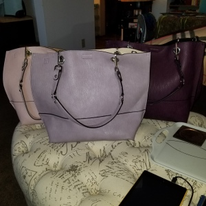 Calvin Klein Sonoma North/South Reversible Totes In Three Colors, Powder Pink, Dusty Lilac, Aubergine